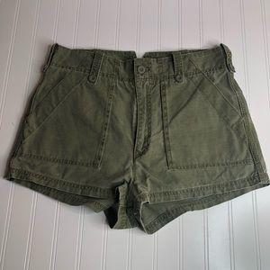 Free People Green Khaki Short Shorts Large
